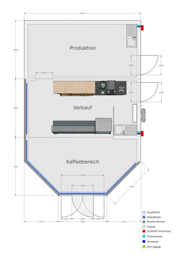 3er Bäckerei-Verkaufsanlage (6x9m) Produktion - Verkauf - Pavillon