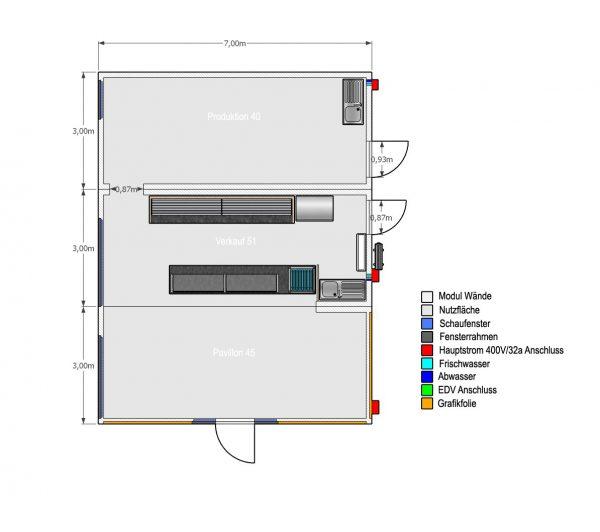 3er Bäckerei-Verkaufsanlage (7x9m) Produktion - Verkauf - Pavillon