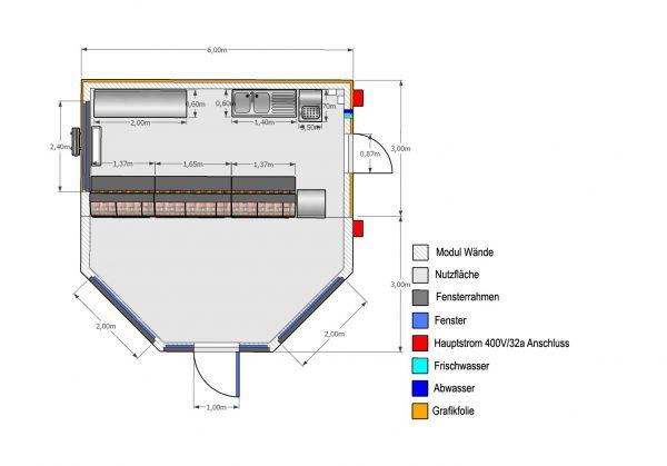 2er Metzgerei-Verkaufsanlage Pavillon Sechseck